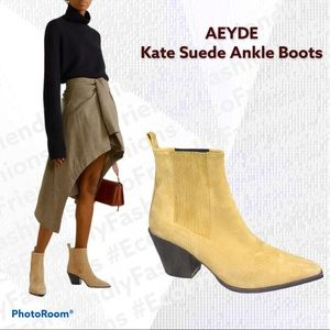 AEYDE Kate Suede Ankle Boots In Beige/Nude/Natural
